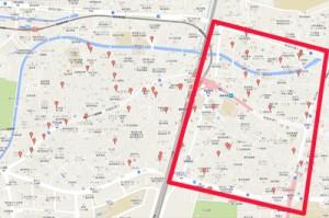高田馬場の駐車場MAP その1(線路の東側)